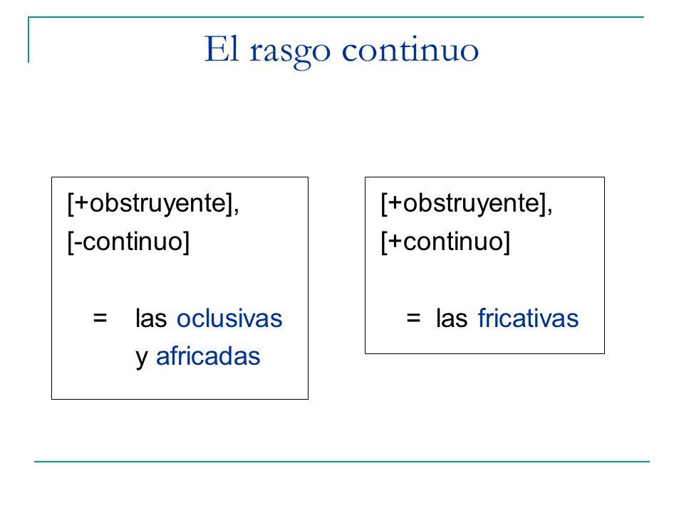 El rasgo continuo [+obstruyente], [-continuo] = las oclusivas